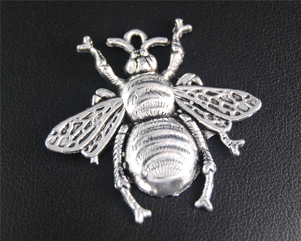 5pcs Antique Sliver Bee Animals Charm Fit Bracelets Necklance DIY Metal Jewelry Making 38X40mm A2065 ...
