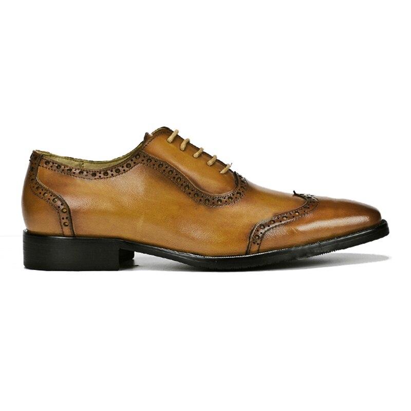 Zapatos Hecho Wingtip Hombres Ss358 Negro Calzado Banquete Diseñador Británico Boda Hombre A marrón Oxfords De Formal Mano Cuero Estilo Genuino Vestido Brogue YIS7T