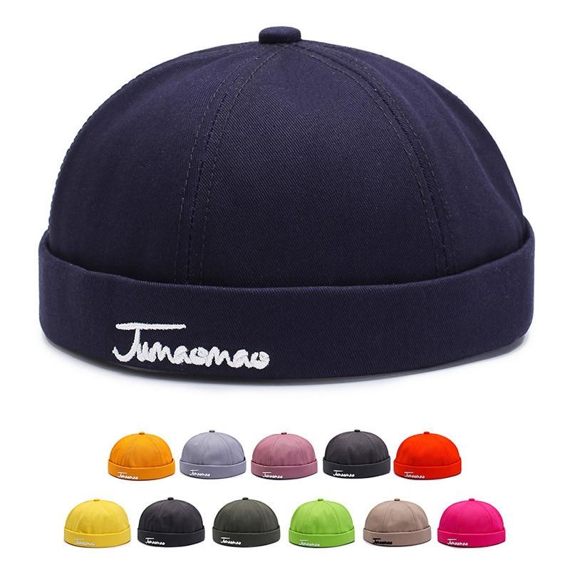 Skullcap Brimless Hat Unisex Skullcap Sailor Cap Cuff Vintage   Beanie   Hat Solid Letter Embroidery Cotton Short   Beanie   Strap Cap