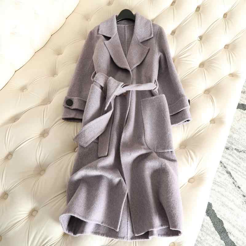 100% Cashmere 2018 Autumn New Long Cashmere Coat Alpaca And Sheep Women's Wool Coat Violet Slim Female Overcoat Solid Belt Coats