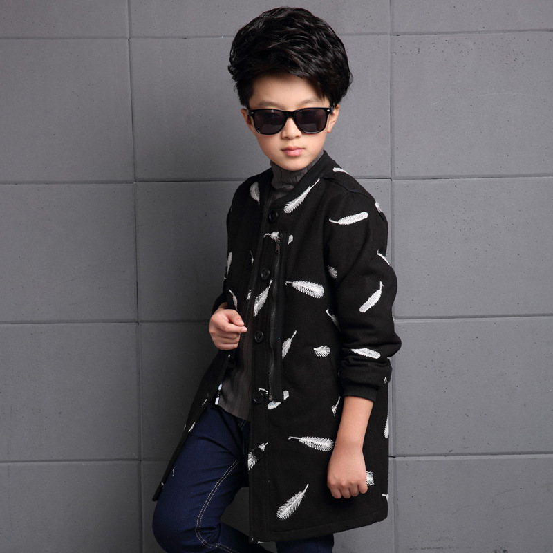 Thumbaby Winter Baby Boy Jacket Coat With the Feather Embroidered 2 Colors Available Children Clothing Warm
