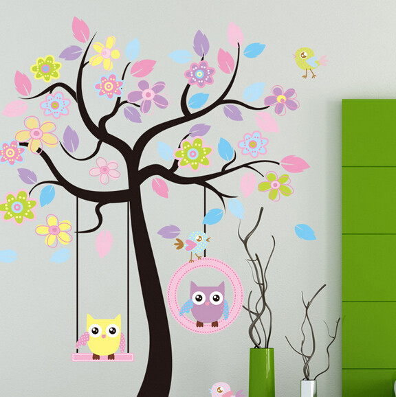 The Cute Owl Wall Stickers For Kids Room Baby Nursery School Living Pink Tree Flower Decals In From Home