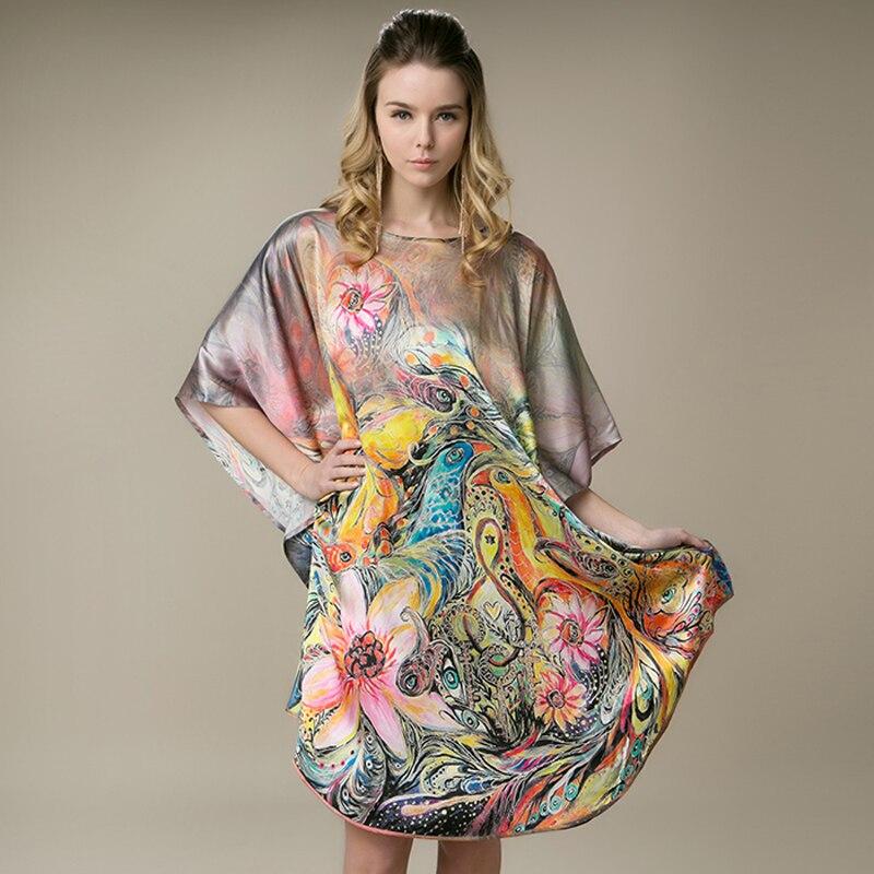 Silk   Sleepshirts   Plus Size Nightdress 2018 New Summer Women Fashion Silk Sleepwear Pattern Flower Printed Female   Nightgown   Dress