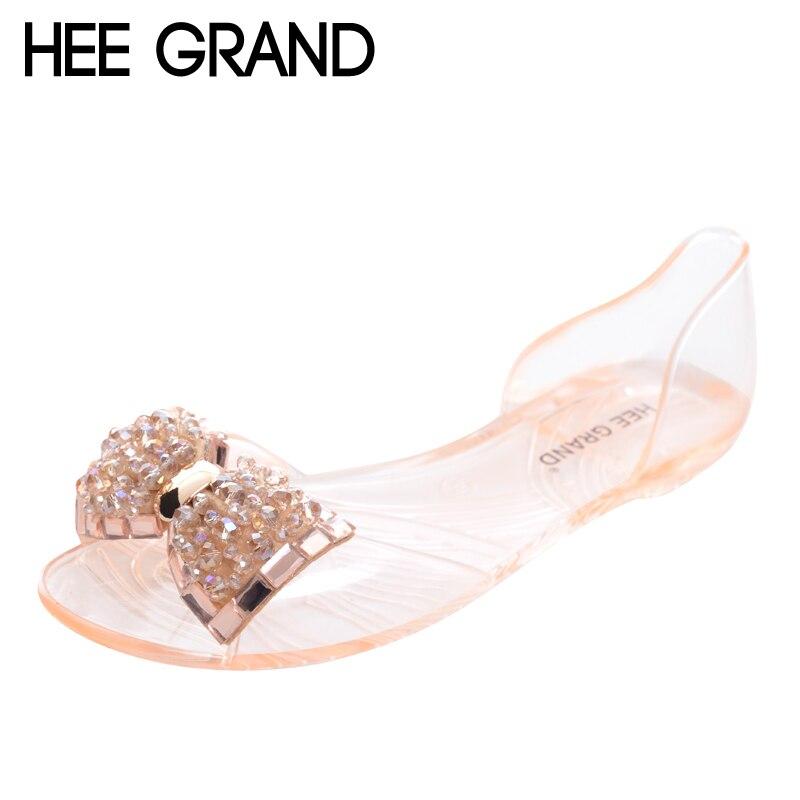 HEE GRAND Frauen Sandalen 2017 Neue Sommer Bling Bowtie Mode Peep Toe Gelee Schuhe Frau Kristall Wohnungen Größe Plus 36 -40 XWZ722