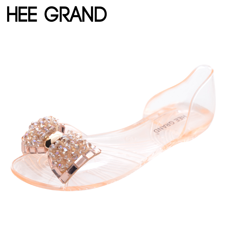 HEE GRAND Women Sandals 2017 New Summer Bling Bowtie Fashion Peep Toe Jelly Shoes Woman Crystal Flats Size Plus 36-40 XWZ722 plardin new summer plus size woman indoor and outdoor peep toe square pearl antiskid sandals shoes with one word woman shoes