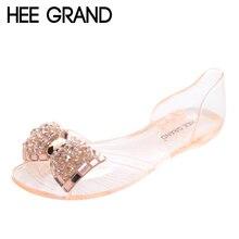 HEE GRAN Bling Bowtie Sandalias de Las Mujeres 2017 Nuevo Verano Moda peep Toe Mujer Zapatos de la Jalea de Cristal Pisos Tamaño Plus 36-40 XWZ722