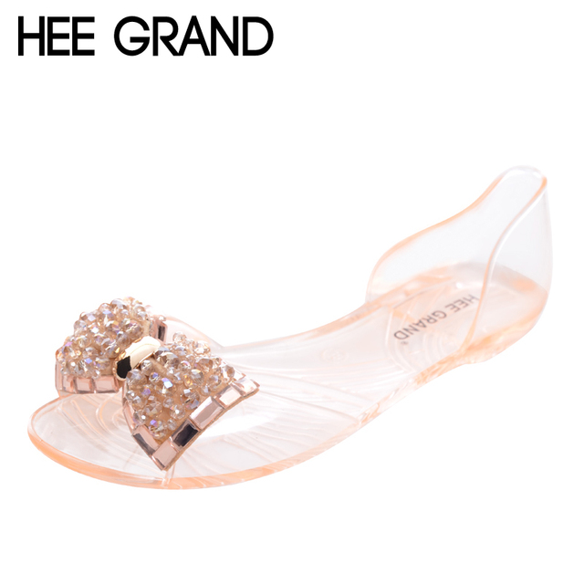 d7128ebed HEE GRAND Women Sandals 2017 New Summer Bling Bowtie Fashion Peep Toe Jelly  Shoes Woman Crystal Flats Size Plus 36-40 XWZ722