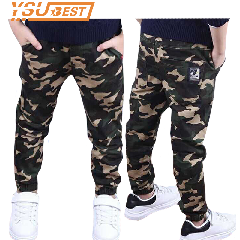 Camouflage Boys Trousers Boys Pants Casual Cotton Print Mid Elastic Waist Harem Kids Pants Boy Children Pants Blue Green Army