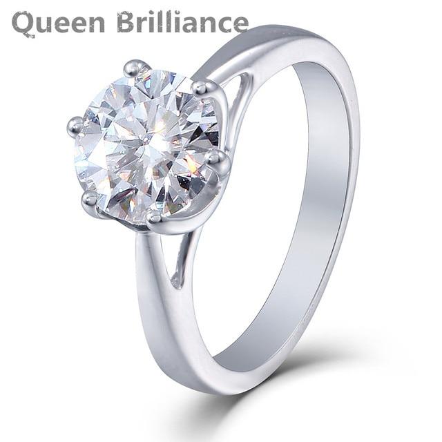 queen brilliance 2ctw lab created moissanite diamond engagement wedding ring for women genuine 14k 585 white - Womens Diamond Wedding Rings
