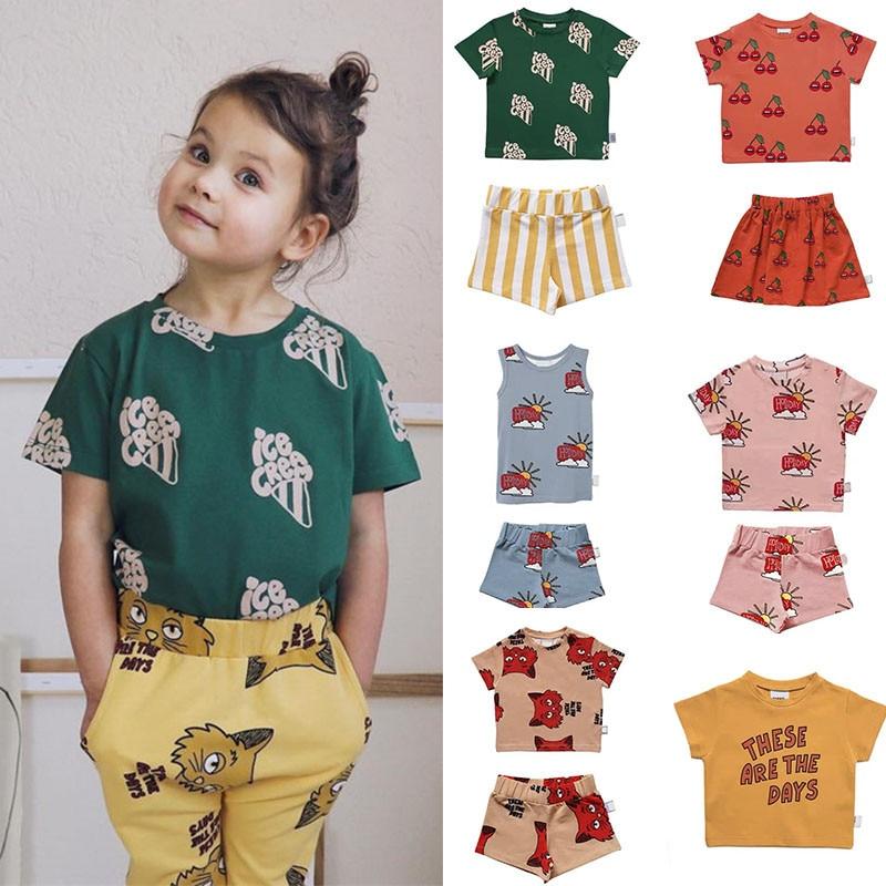 Enkelibb Girls Tops Tshirt Cherry-Pattern Tiny Baby-Boys Fashion Cottons Summer Children