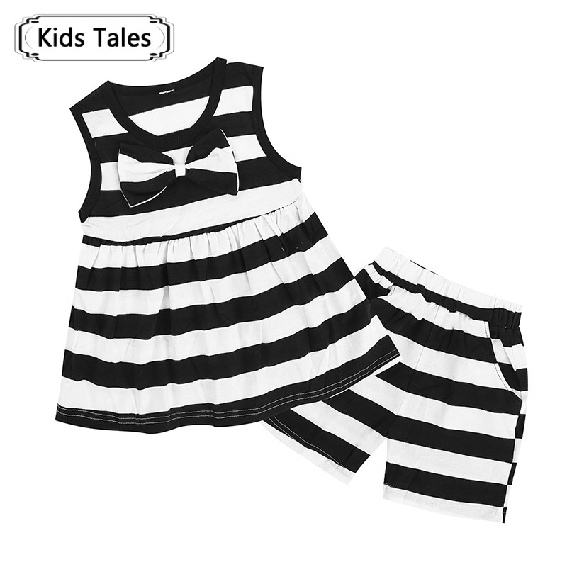 Sets of Summer Clothes for Little Girls with A Bow Black Striped 2 Pcs. Clothes Childrens Set Childrens Sports Suit ST310