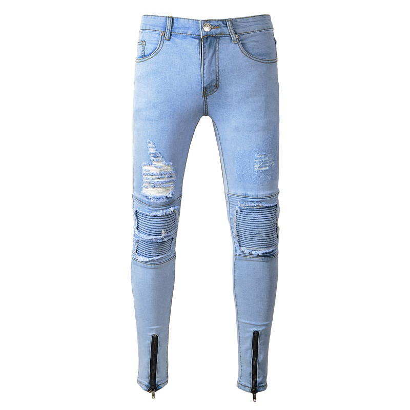 Ripped Jeans For Men Skinny Slim Pleated Distressed Hole Biker Jeans Man Hip Hop Streetwear Motorcycle Pants White Blue Trousers mens skinny jeans men runway distressed slim elastic jeans denim biker jeans hip hop pants washed pleated jeans blue