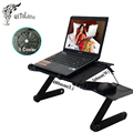 Cooler Folding Table  Multi Functional Laptop Stand for Bed Portable Sofa Laptop Cooler Table Adjustable Notebook Desk+Mouse Pad