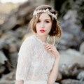 2017 Luxo Moda Tiara de Pérolas de Cristal Do Casamento Da Fita Fita de Noiva Cocar Jóias de Casamento Romântico Elegante Enfeite de Cabelo