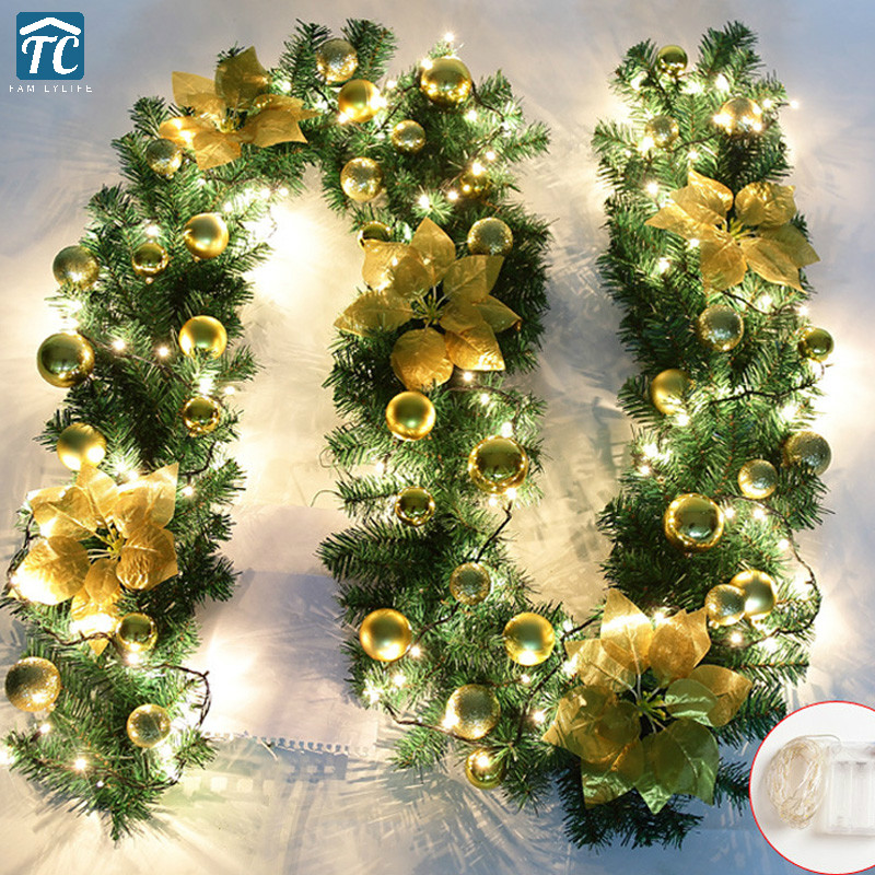 2.7m Christmas Led Tree Hanging Ornament Rattan Colorful Decoration Party Wedding Home Outdoor Garland Encryption With Lights