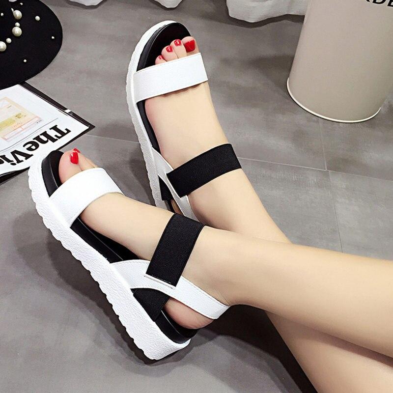 2018 Nuovi pattini di Estate sandali donne peep-toe sandalias Scarpe basse sandali Romani scarpe donna mujer Signore Infradito calzature 810