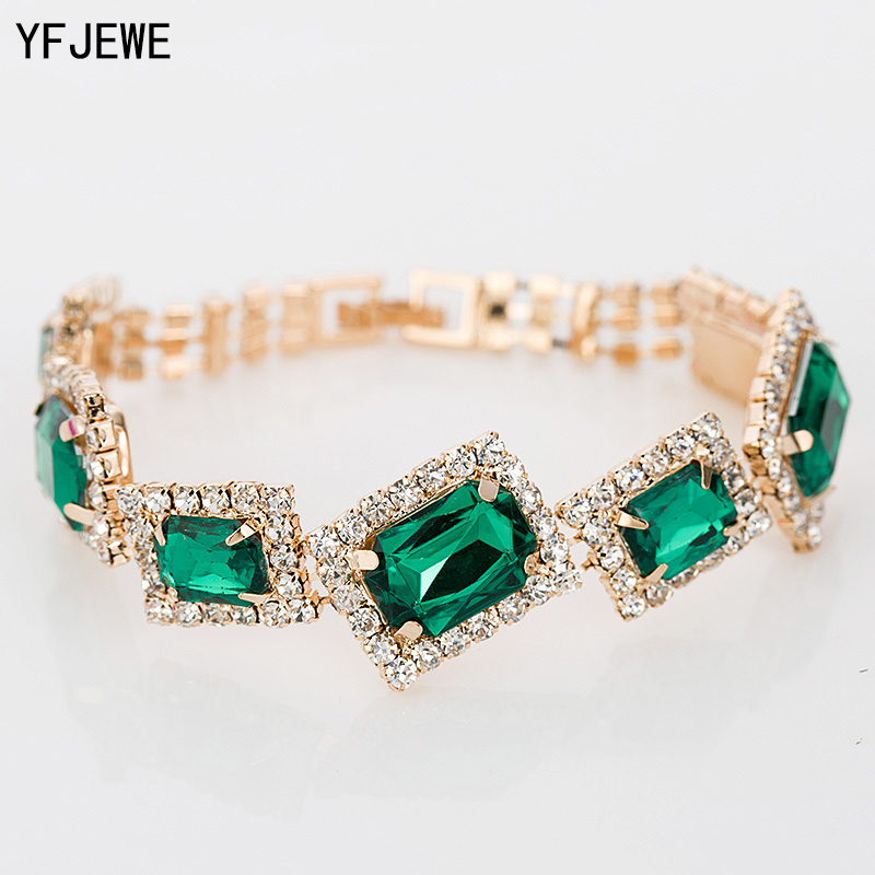 YFJEWE New Fashion Women Charm Bracelets & Bangles Best Sell Wholesale Crystal Jewelry For Dress  Wedding Christmas Gifts B008