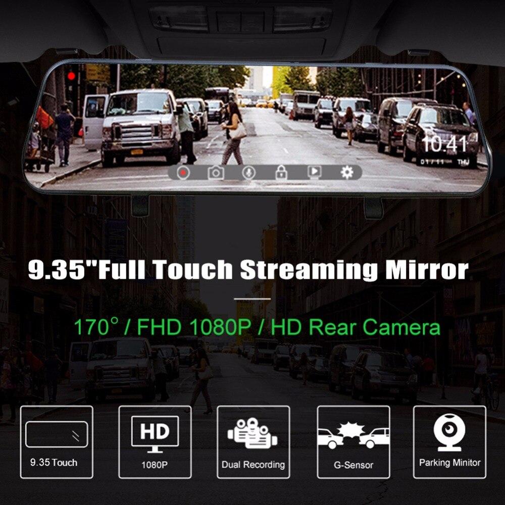 9.35 Inch Car DVR Dash Camera FHD 1080P Wide Angle Registrator Dash Cam Night Version G-sensor Dual Lens DVRs Camcorder