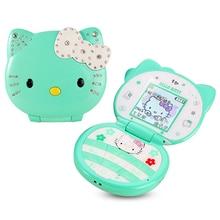 KUH T99 flip lovely unlocked cartoon cat small women kids girls diamond Bluetooth dialer cute mini cell mobile phone P081