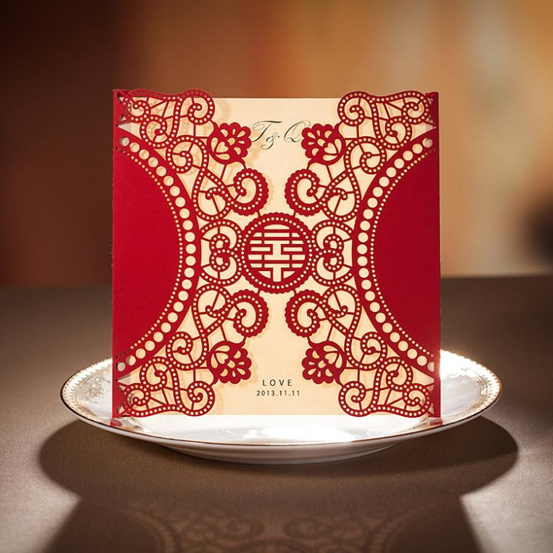 Personalized Elegant Asian Chinese Style Double Happiness Laser Cut Wedding Invitation Card Red Color 30set