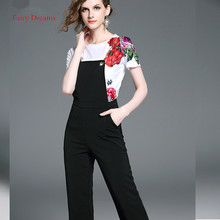 Fairy Dreams 2 Piece Set Women Costume Tops And Black Pants 2017 Flowers Beading White T shirt Summer Suits Casual Rompers