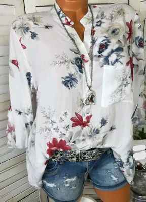 Plus Size Ladies Clothes Floral Print Shirts Womens Tops and Blouses Roll Up Long Sleeve V Neck Shirt Flower Casual Streetwear