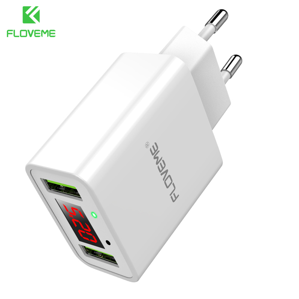 FLOVEME 5V 2.2A Max Dual USB Phone Charger For iPhone X Samsung S9 LED Display Charging Wall Charger For Xiaomi Huawei Adapter