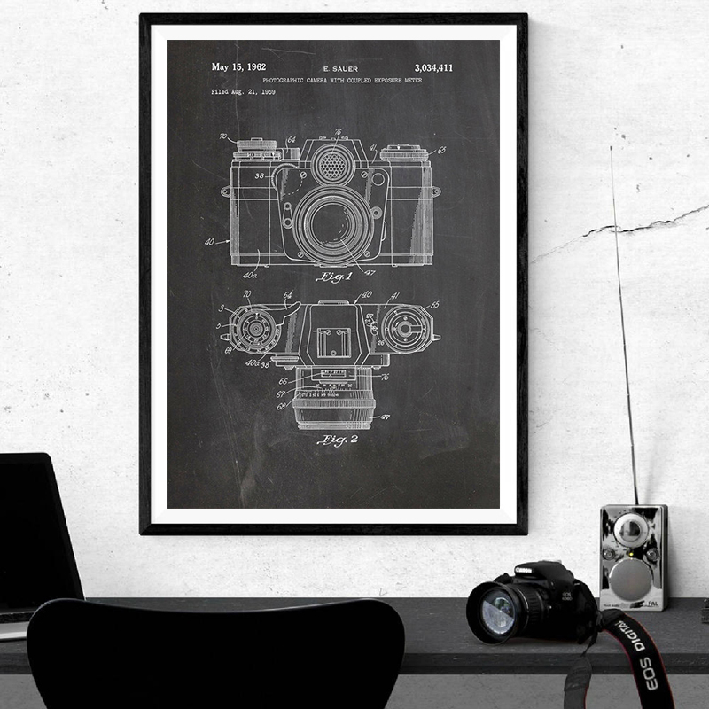 Vintage Camera Patent Poster Wall Art Print , Antique Camera Canvas Painting Retro Blueprint Wall Picture Photography Decoration