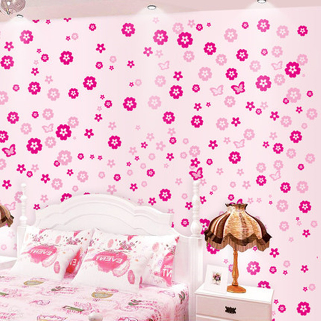 108 PCS Flowers And 6 PCS Butterfly Wall Decals Wall Sticker Girls Kids  Nursery Bedroom Decor
