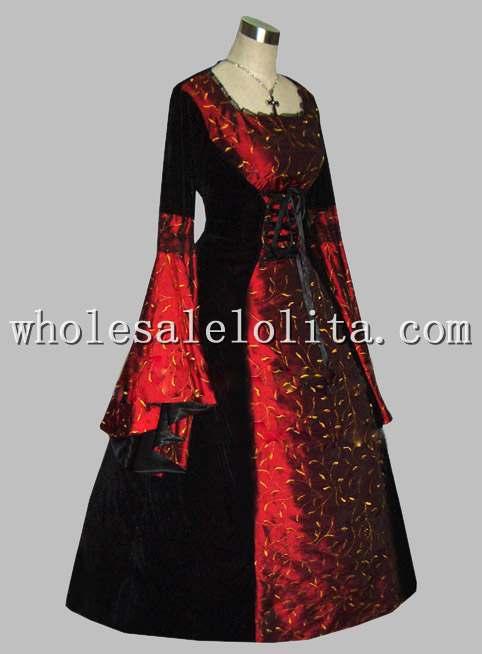 Rouge Victorien Manches À Gothique Noir Gratuite Robe Multi Ère Thai Livraison Longues Imprimer Princesse Soie Et 5w8pR7qxEn
