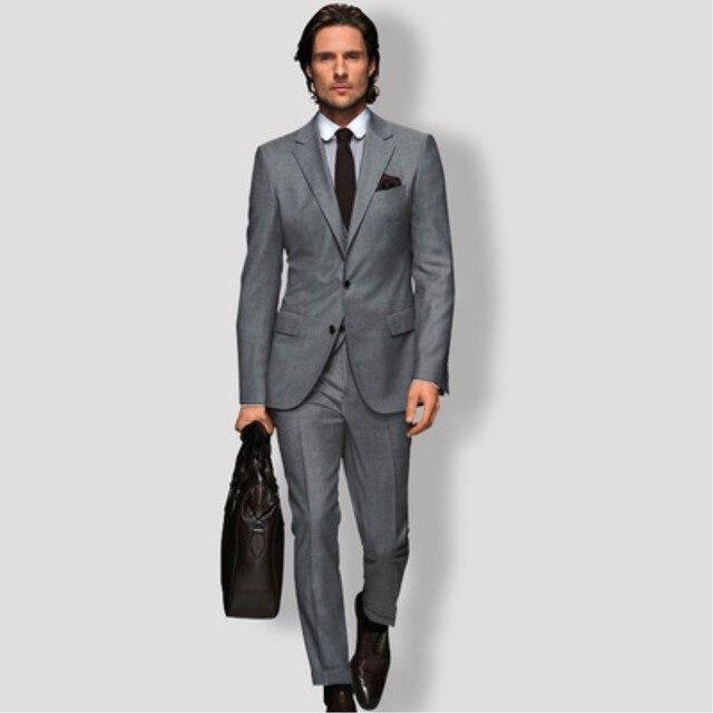 f14cf185686 TPSAADE Business Mens Grey Suit Slim Fit sergemen s upscale wedding dress  professional dress suit for Wedding(jacket+ pants) 268