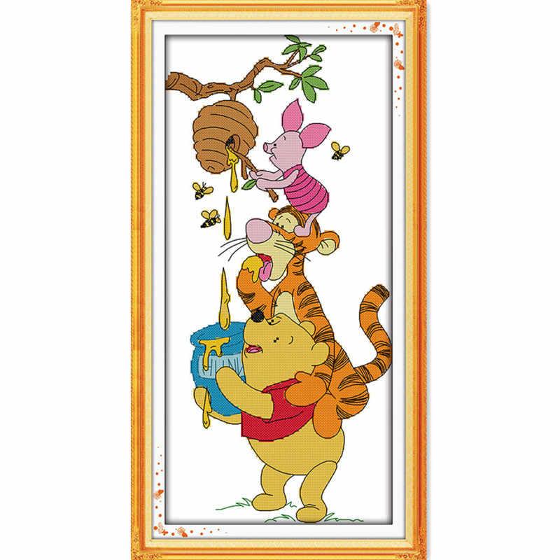 Winnie The Pooh และหมูสีชมพูขโมยน้ำผึ้งสัตว์ DIY CROSS Stitch เย็บปักถักร้อยชุดผนังตกแต่งของขวัญเด็ก