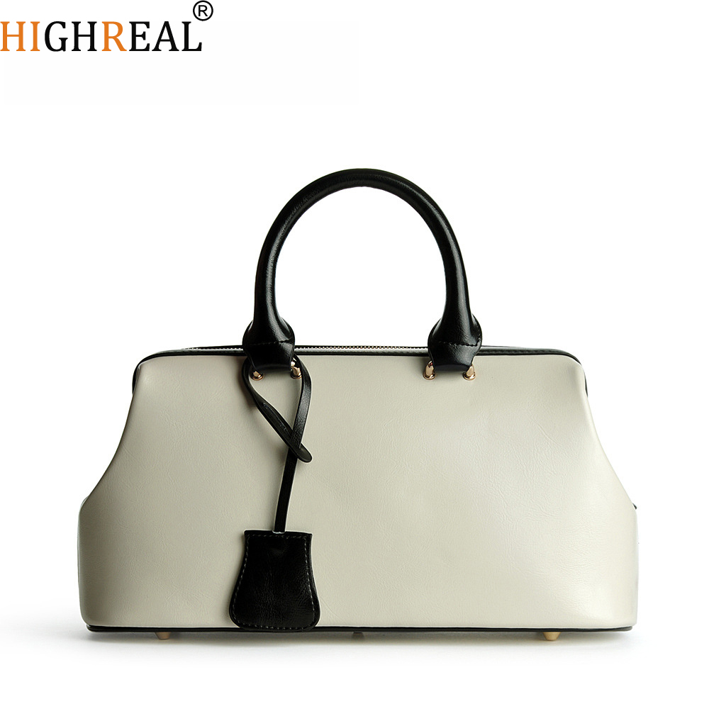 HIGHREAL Real Cow Leather Ladies HandBags Women Genuine Leather bags Totes Messenger Bags Hign Quality Designer Luxury Brand Bag