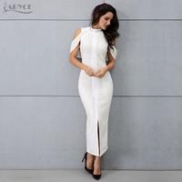 ADYCE 2018 New Style Woman Sleeveless Long Dress Celebrity Evening Party Dress Sexy Beadings Turtleneck Back