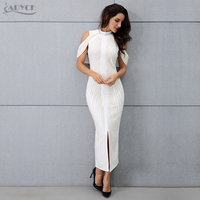 ADYCE 2019 New Celebrity Evening Party Dress Women Sexy Beadings Short Sleeve Off Shoulder Mid Calf Runway Bodycon Club Dresses