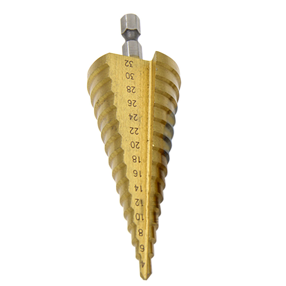4-32mm Drill Bit HSS Titanium Hex Shank Step Cone Drill Bit Hole Saw Cutter Tool High-Rigidity Stepped Drill Metal Drilling 7mm diameter shaft 27mm hss 6542 hole saw metal cutting tool twist drill bit with hex wrench