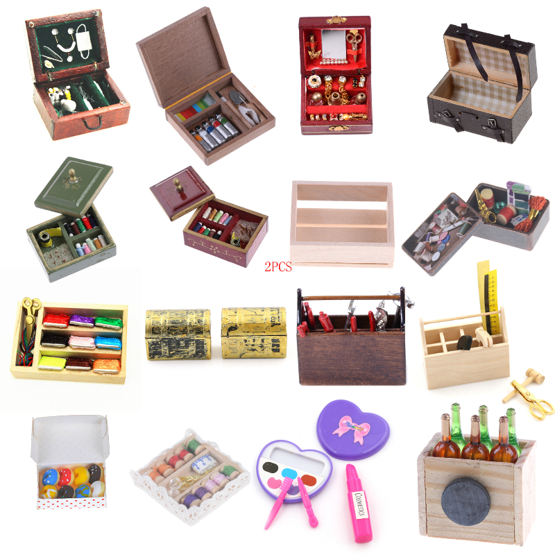 Kitchen Wooden Box/Doughnut/Paint/Medical/Needle/Jewelry/Suitcase/Toolbox/Wine/Makeup/Sewing <font><b>Miniature</b></font> DIY 1:12 Accessories image