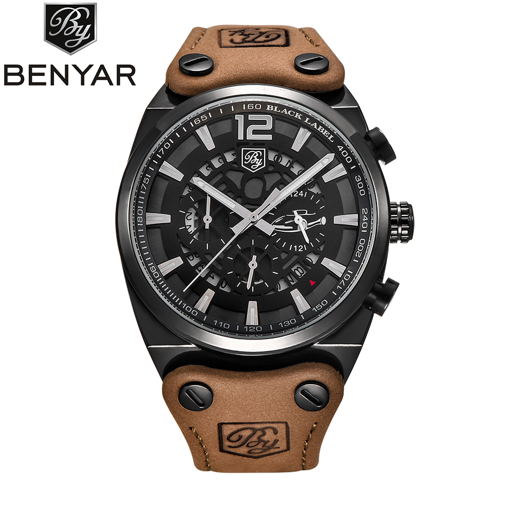 BENYAR Fashion Brand Military Mens Watches Leather Casual Chronograph Sport Quartz Watch Men Waterproof Male Relogio with Box benyar brand chronograph men watch luxury sport waterproof mens quartz military wrist watches male leather clock saat with box