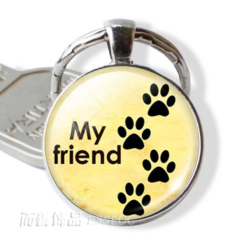אהבת תליון Keychain Paw הדפסי מפתח טבעות כלב אוהבי רסיס מצופה מפתח שרשרת חג המולד מתנה לילדים עבור חבר