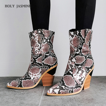 Fashion Brand Design Snake Printed Ankle Boots Animal Print Women Boots Pointed Toe Strange High Heel Botas Mujer 2019 New Shoes цена 2017