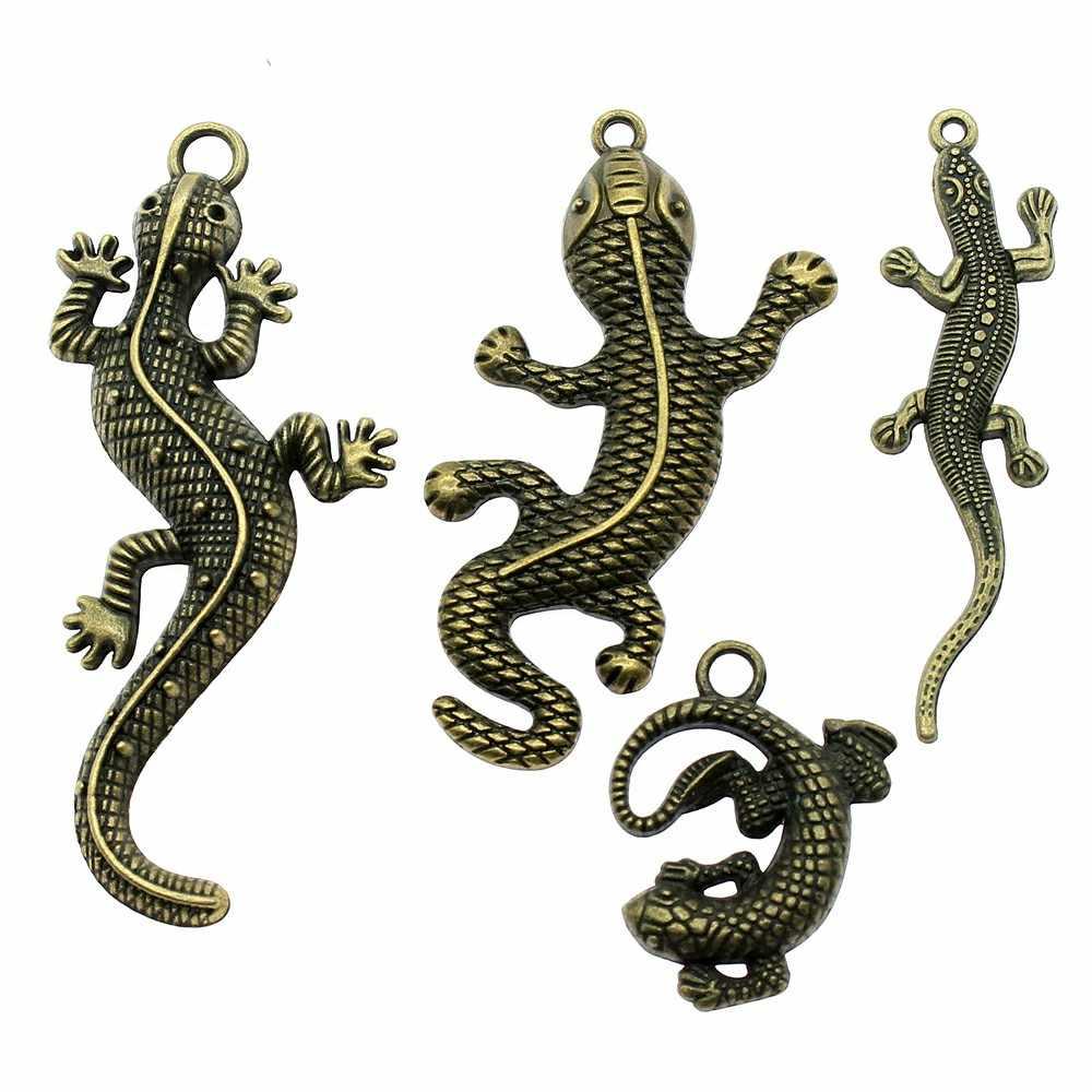 5 шт. Винтаж, античная бронза цвет Гекко Шарм Подвески для изготовления ювелирных изделий Подвески «ящерица» ювелирные аксессуары