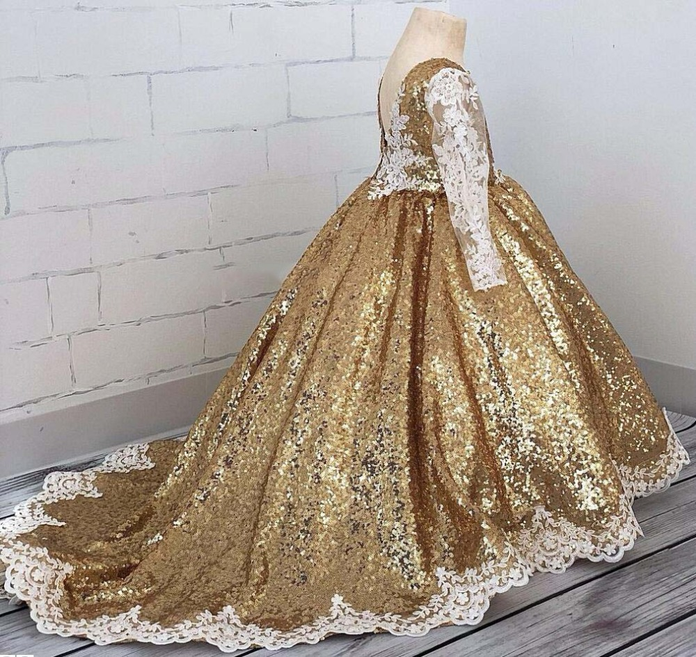 Bling bling golden sequins Princess ball gown lace girl glitz pageant dresses V-neck flower girl dress for party with train glittering mermaid v neck sequins weep train long evening dress