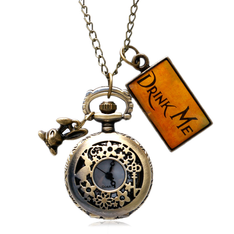 Vintage Bronze Little Cute Pendant Rabbit Flower Alice In Wonderland Retro Quartz Women Pocket Watch Drink Me Tag Necklace Gift alice in wonderland drink me tag rabbit quartz pocket watch gift set pendant necklace fob chain with gift box for women mens