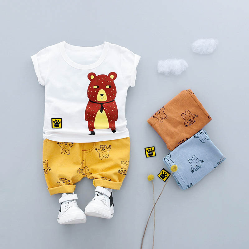 2018 summer Cartoon bear Baby Boys Clothes Sets Short sleeve Infant Cotton Suits Kids T Shirt+Pants Children Suits