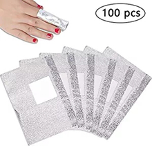 100Pcs silver sturdy Aluminium Foil Removal Wraps Soak Off Foils with Cotton Pad for Nail Gel Polish cosmetic makeup tools