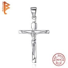 eb1af7dc29ed BELAWANG el 100% 925 la plata esterlina santo Jesús Cruz colgante del  encanto collar del acoplamiento de cadena pulsera para las.