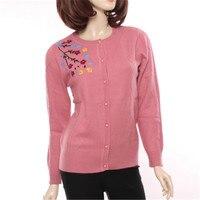 100% козья кашемир жаккард, вышивка тонкие трикотажные женские весенне Осенняя мода свитер Oneck S 2XL в розницу и оптом
