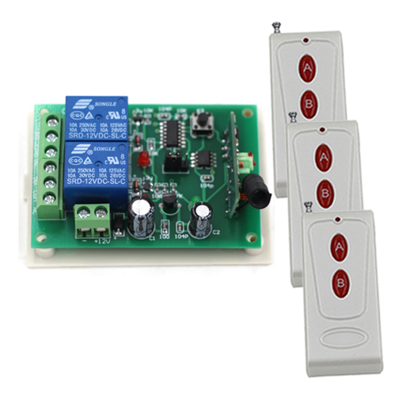 12V 2CH RF Remote Control Switch Wireless Remote System 315/433 MHZ 3 Transmitters And 1 Receiver 3316 wireless pager system 433 92mhz wireless restaurant table buzzer with monitor and watch receiver 3 display 42 call button