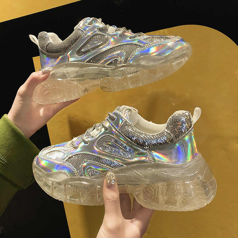 Glitter Bling Casual Sneakers Vrouwen 2019 Platform Sneakers Mode Dames Transparante Zool Casual Crystal Trainers Vrouwen