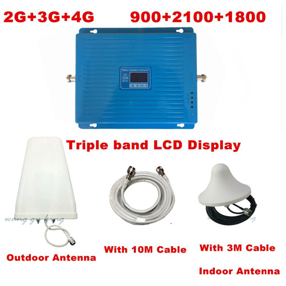 LCD display2G 3G 4G GSM repeater 900 WCDMA 2100 LTE 1800 Tri Band cellular Signal Booster 70dB Gain gsm Repeater 3G 4G AmplifierLCD display2G 3G 4G GSM repeater 900 WCDMA 2100 LTE 1800 Tri Band cellular Signal Booster 70dB Gain gsm Repeater 3G 4G Amplifier